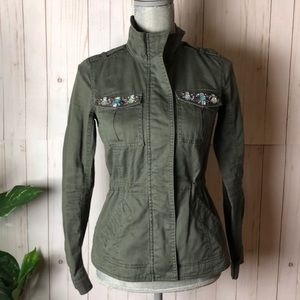Candies Olive jacket with jeweled pockets